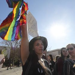 BYU student Veronica Augustine and LBGT supporters rally on Brigham Young University's campus in Provo on Wednesday, March 4, 2020.