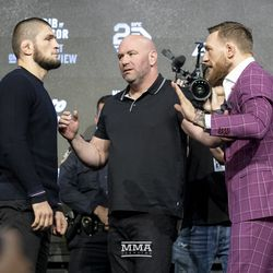 Khabib Nurmagomedov and Conor McGregor face off Thursday at the UFC 229 press conference in New York at Radio City Music Hall.