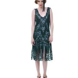 """<a href=""""http://www.unique-vintage.com/unique-vintage-1920s-style-emerald-green-beaded-sinclair-flapper-dress.html"""">Unique Vintage Emerald Green</a>, $310"""