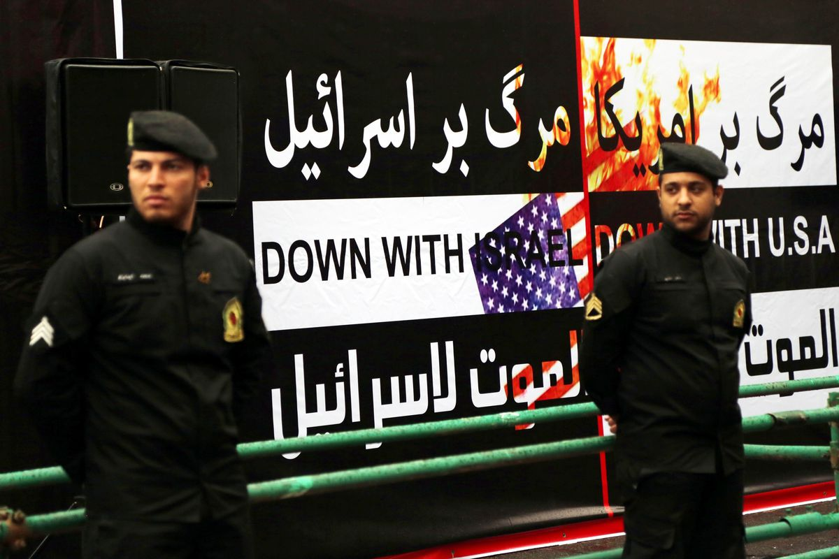 """An Iranian protest marking the 35th anniversary of the takeover of the US embassy in Tehran. Protestors chanted, """"Death to America!"""""""