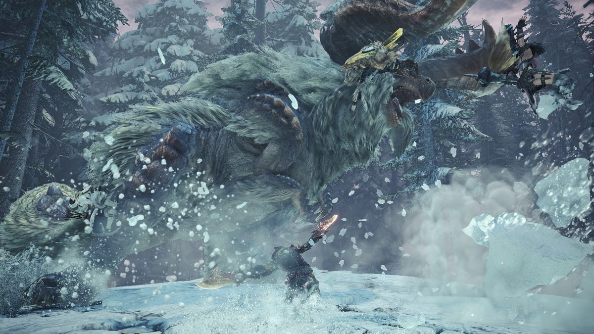 A Banbaro sprays snow all over the attacking hunter, lowering their mobility, in Monster Hunter World: Iceborne.