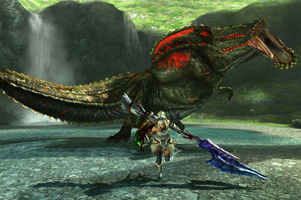 A female monster hunter runs from Deviljho in a screenshot from Monster Hunter Generations Ultimate for Nintendo Switch.