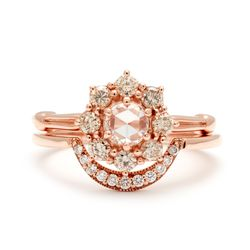 Celestine Ring shown with crescent band and white diamonds in 14k yellow gold
