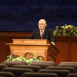 President Dallin H. Oaks addresses a global audience from a small auditorium inside the Church Office Building during the Saturday morning session of the 190th Annual General Conference on Saturday, Apri 4, 2020.