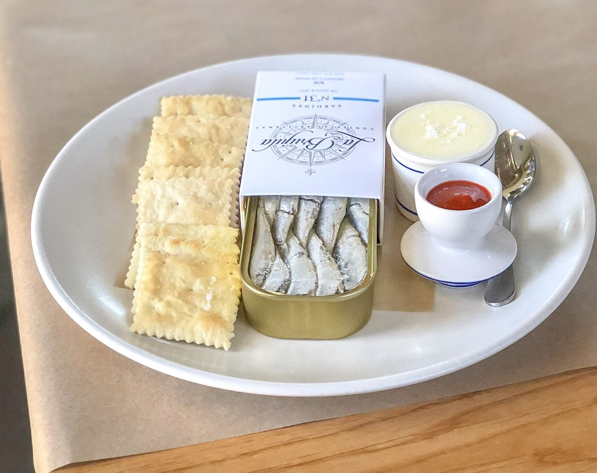 Crackers and anchovies from Bell's.