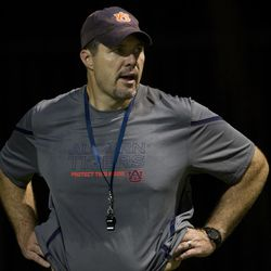Auburn offensive line coach Jeff Grimes is pictured during the first day of fall practice for the Auburn Tigers in Auburn, Ala., Wednesday, Aug. 3, 2011. Thursday morning, BYU announced it has hired Grimes to be the Cougars' new offensive coordinator.