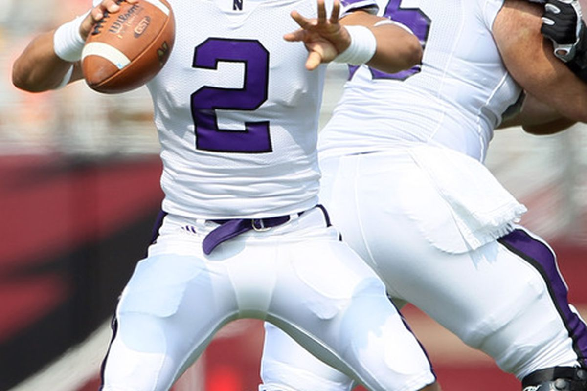 Kain Colter filled in well at QB for injured Dan Persa.  (Photo by Elsa/Getty Images)
