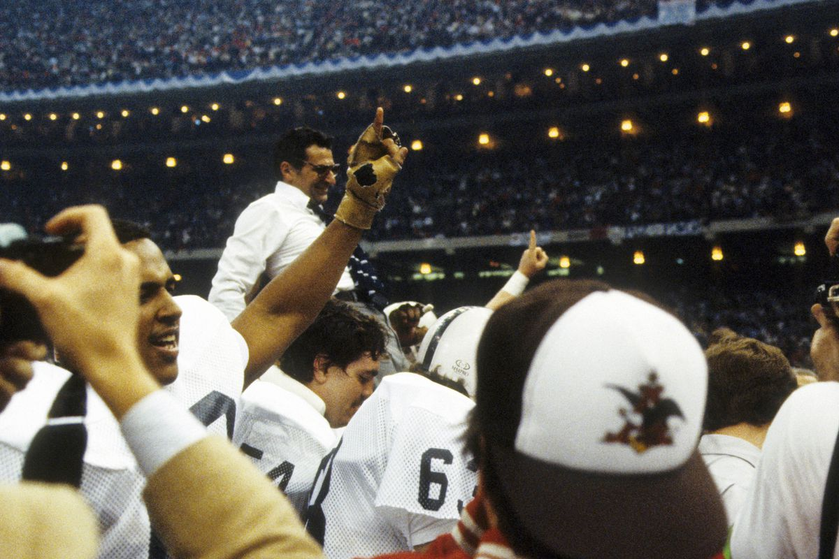 Jan 1, 1983; New Orleans, LA, USA, FILE PHOTO; Penn State Nittany Lions head coach Joe Paterno gets a victory ride after defeating the Georgia Bulldogs in the 1983 Sugar Bowl at the Superdome. Mandatory Credit: Malcolm Emmons-US PRESSWIRE