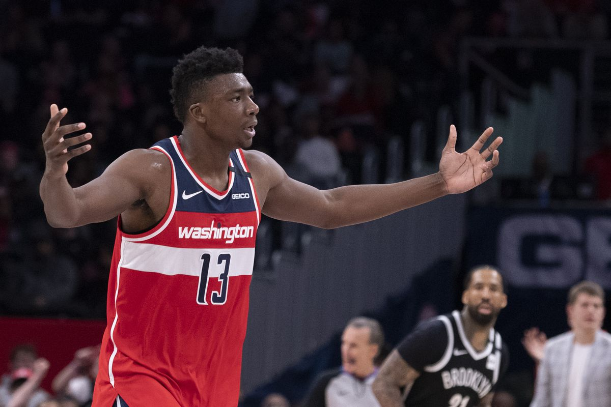 Washington Wizards center Thomas Bryant reacts after making a basket during the second half against the Brooklyn Nets at Capital One Arena.