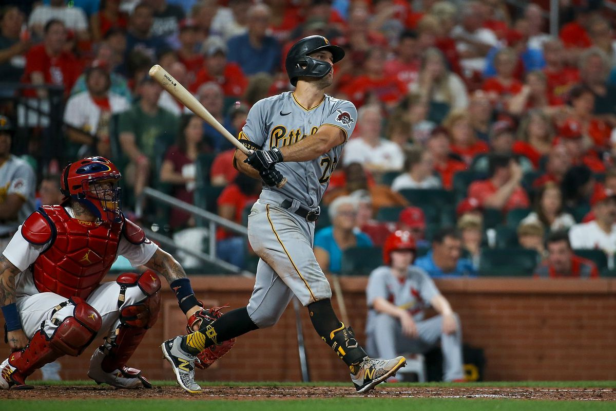 Adam Frazier #26 of the Pittsburgh Pirates hits a solo home run during the sixth inning against the St. Louis Cardinals at Busch Stadium on June 24, 2021 in St. Louis, Missouri.