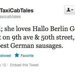 """Hallo Berlin <a href=""""https://twitter.com/nyctaxicabtales/status/281646211201650688"""">for German food</a>."""