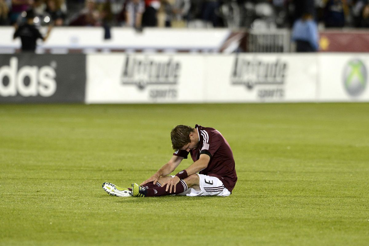 April 21, 2012; Commerce City, CO, USA;  during the second half against the Los Angeles Galaxy Colorado Rapids at Dick's Sporting Goods Park.The Galaxy defeated the Rapids 2-1. Mandatory Credit: Ron Chenoy-US PRESSWIRE