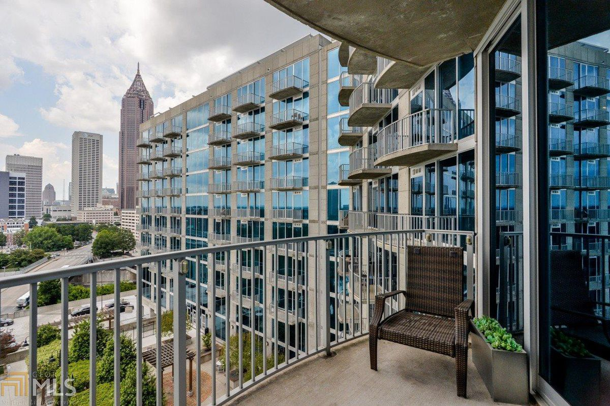 The balcony of a downtown Atlanta condo for sale right now.