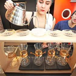 Pour over coffee set-up in action