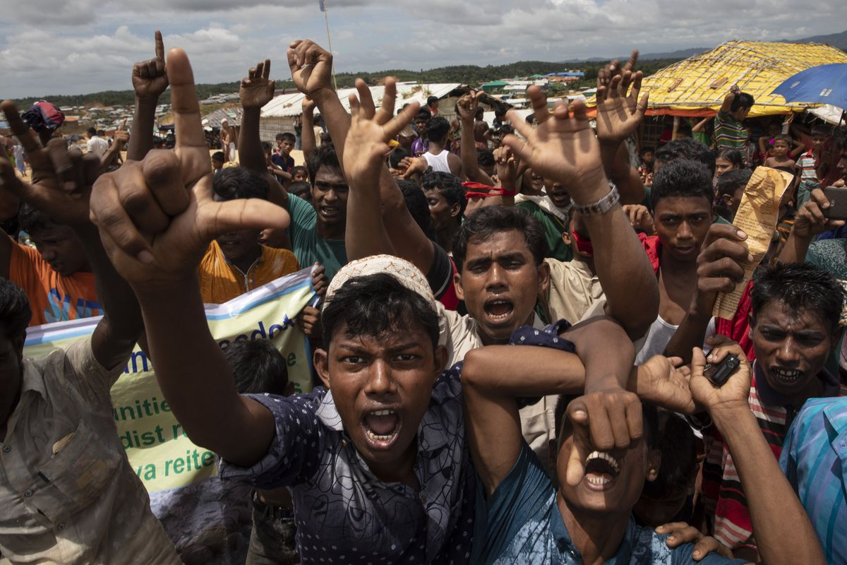 Rohingya refugees protest on the first anniversary of the Rohingya crisis in August 2018 in Bangladesh.