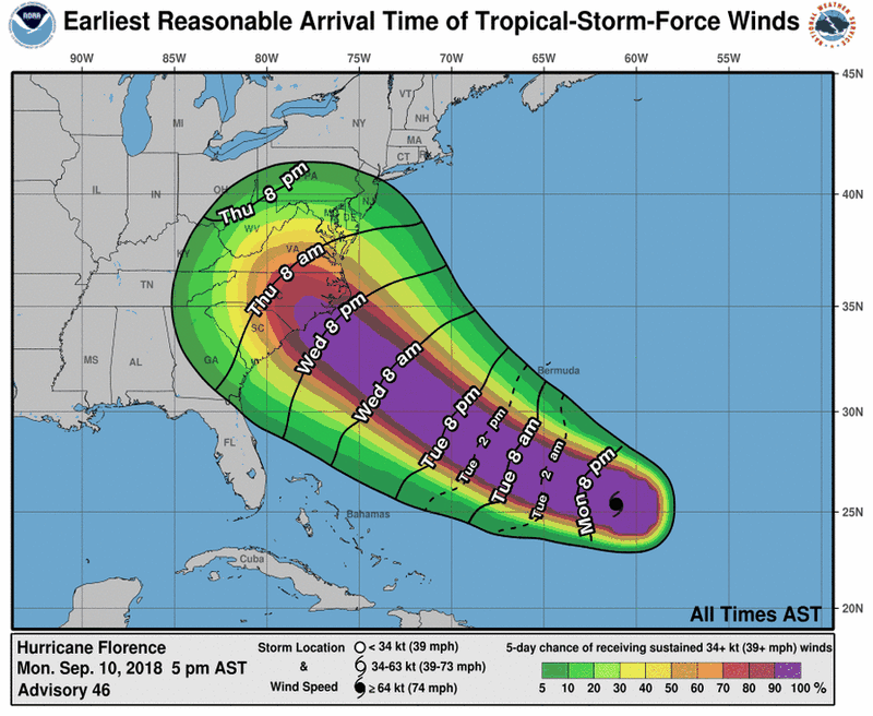 205721_earliest_reasonable_toa_34 Hurricane Florence: what we know about the storm heading for the Carolinas