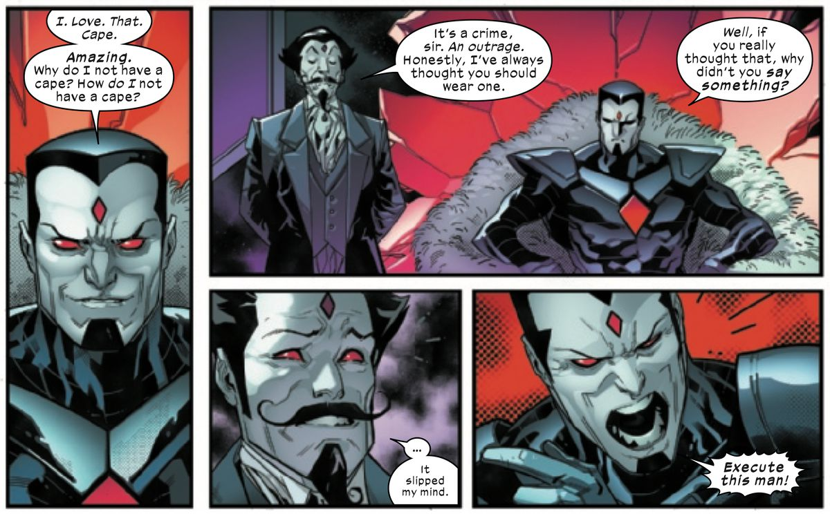 Mister Sinister expresses desire for a cape, and then orders the execution of an advisor — who is also a clone of Mister Sinister — for not advising him to get a cape, in Powers of X #4, Marvel Comics (2019).