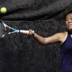 Erica Park of Waterford competes against Scout Swenson of Rowland Hall (not pictured) in the State 2A Tennis third seed singles tournament at Liberty Park in Salt Lake City Saturday, Sept. 29, 2012.