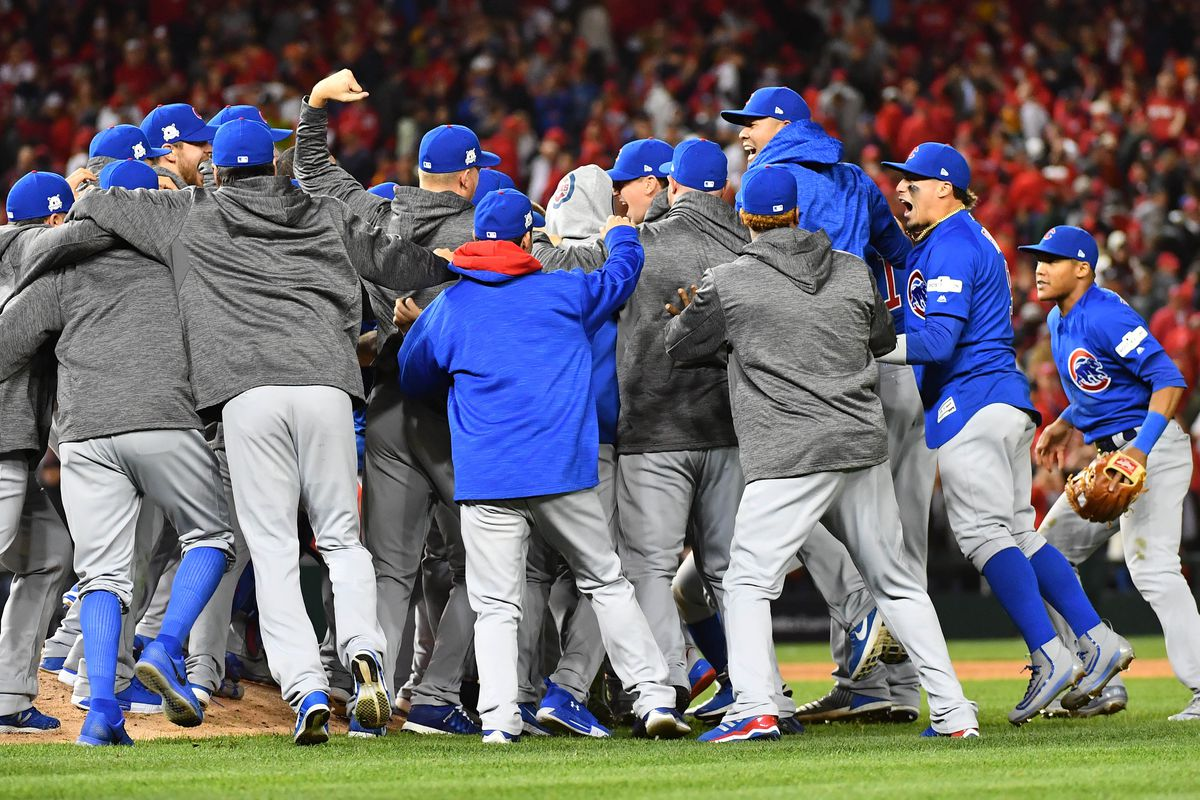 Oct 12, 2017; Washington, DC, USA; The Chicago Cubs celebrate after defeating the Washington Nationals in game five of the 2017 NLDS playoff baseball series at Nationals Park. Mandatory Credit: Brad Mills-USA TODAY Sports