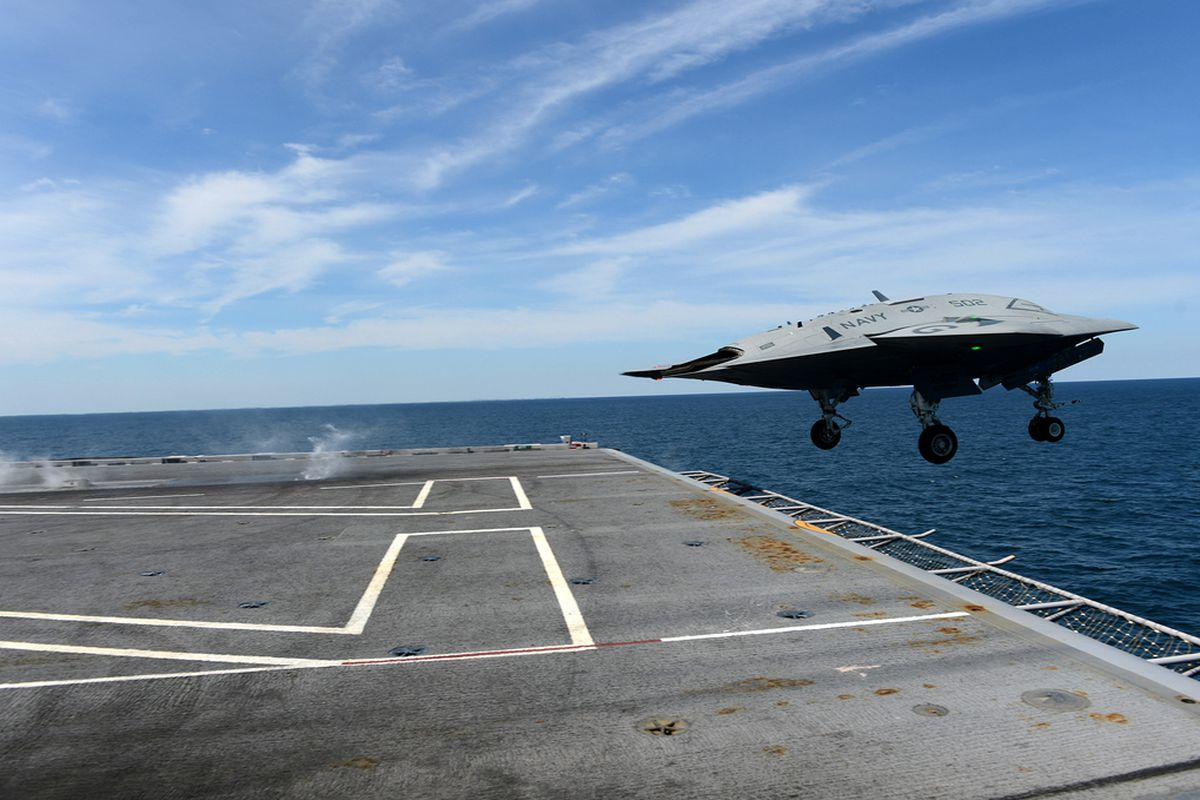 Navy X 47B Drone Takes Off From Aircraft Carrier