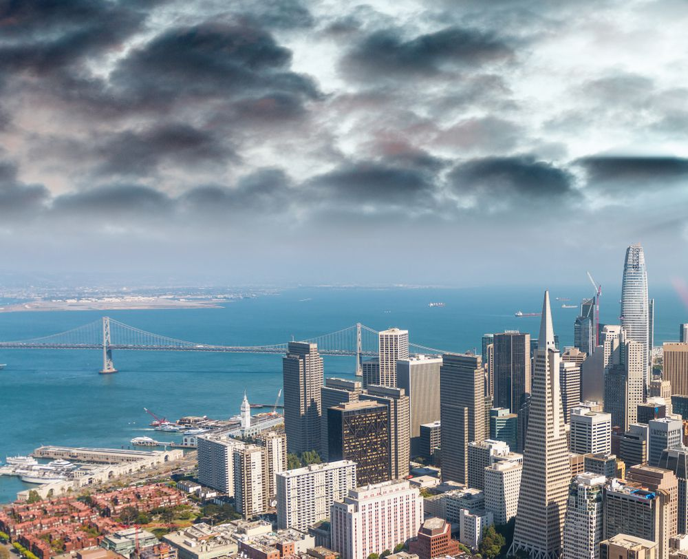 Dark clouds over the San Francisco skyline and bay.