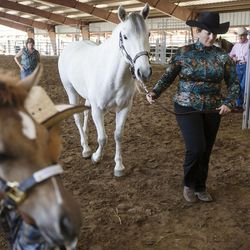 Chase Christensen, 5, left, stands with his foal, Tequilla, as Christine Jones walks her horse, Rosie McGee, into the show barn at the Wild Horse and Burro Show at the Legacy Events Center in Farmington on Friday, June 9, 2017.