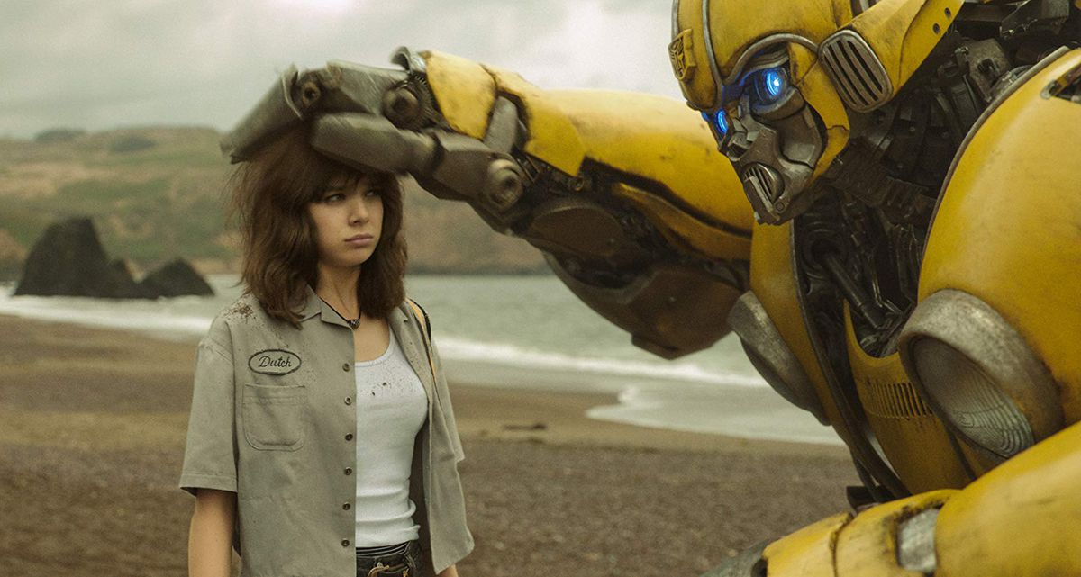 Hailee Steinfeld and the titular Bumblebee in Bumblebee