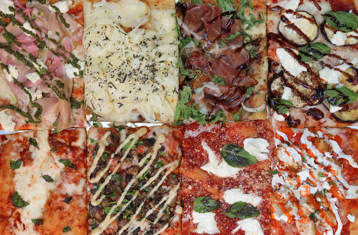 A grid of eight different slices of Roman-style pizza from Mortadella Head in Somerville