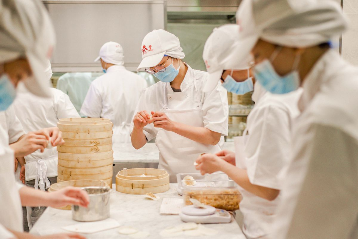 Xiaolongbao production at Din Tai Fung's London restaurant opening in Covent Garden