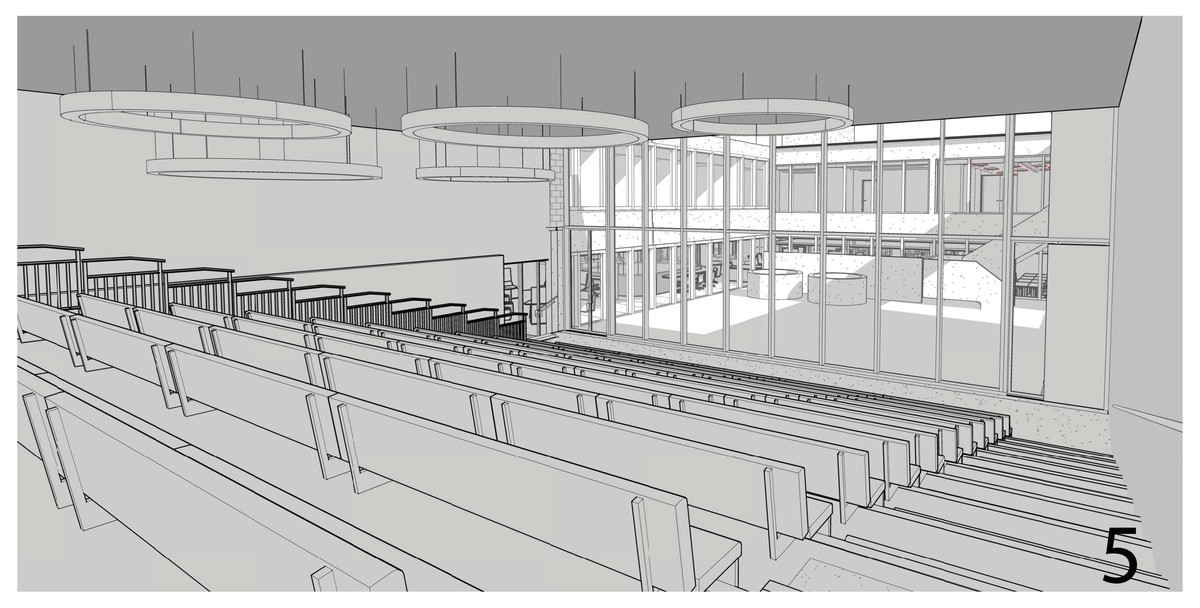 """A rendering of the 5th floor's """"flex meeting space"""""""
