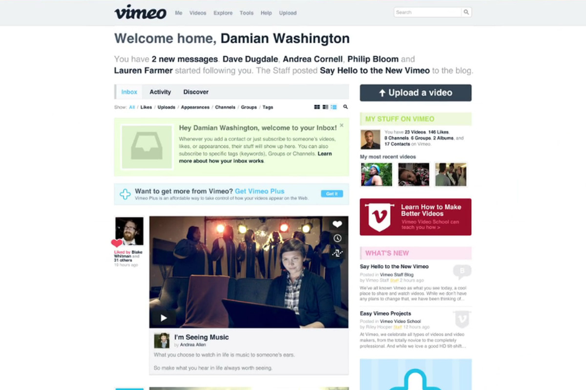 Vimeo Redesign Offers Cleaner Interface Bigger Videos Tumblr Like