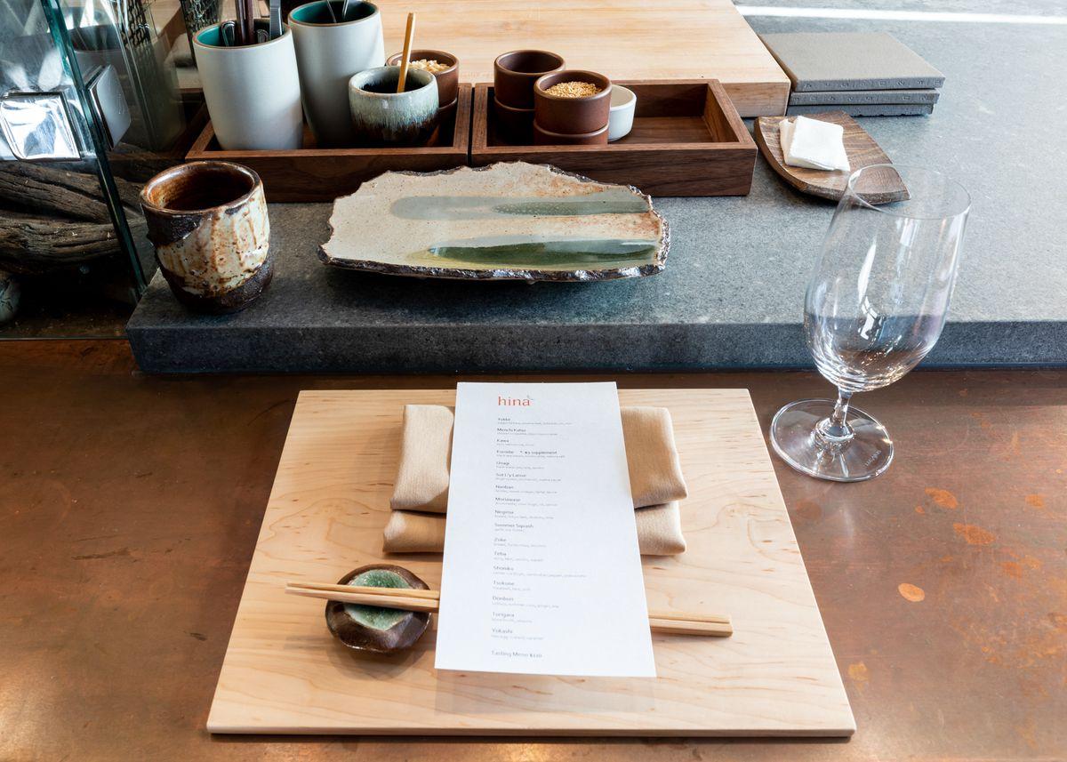 The menu at HIna Yakitori
