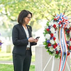 Sen. Deidre Henderson, R-Spanish Fork, speaks during a ceremony honoring Utah's Seraph Young Ford at Arlington National Cemetery in Arlington, Va., on Tuesday, Sept. 29, 2020.Ford was the first woman to cast a ballot in the United States.