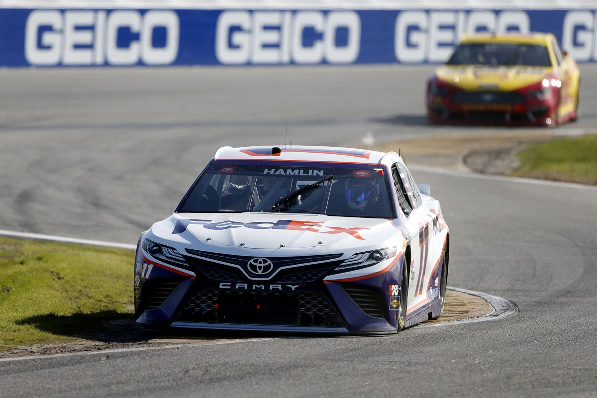 Denny Hamlin, driver of the FedEx Express Toyota, drives during the NASCAR Cup Series O'Reilly Auto Parts 253 at Daytona International Speedway on February 21, 2021 in Daytona Beach, Florida.