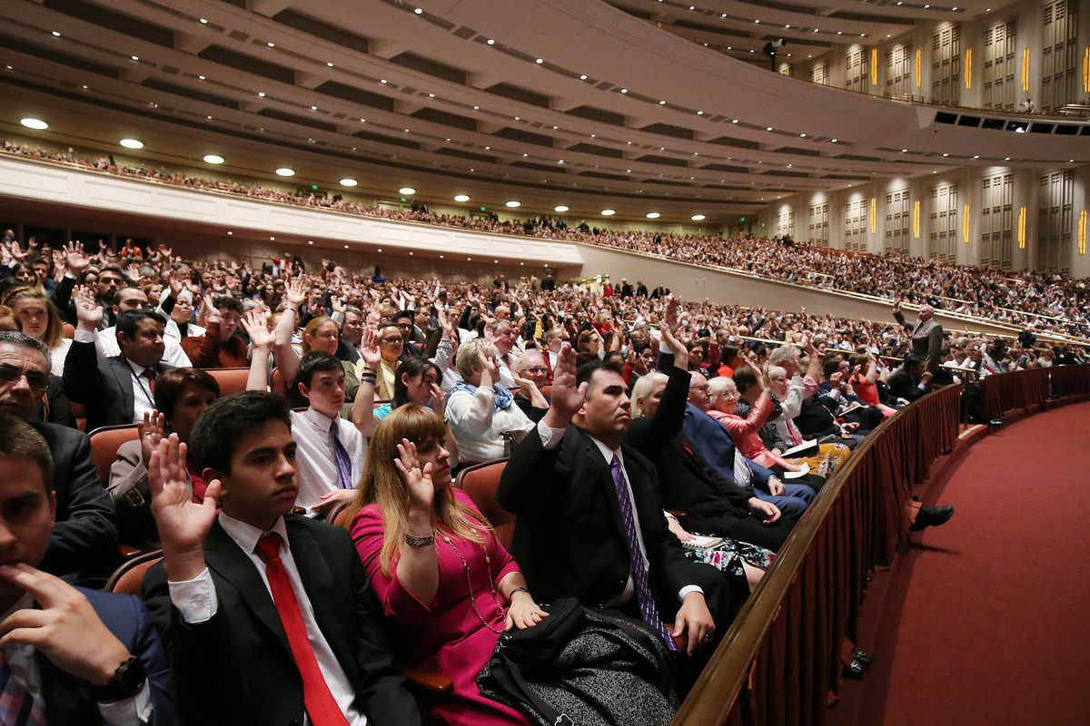 Conferencegoers sustain general authorities during the Saturday afternoon session of the 188th Semiannual General Conference of The Church of Jesus Christ of Latter-day Saints in the Conference Center in Salt Lake City on Saturday, Oct. 6, 2018.
