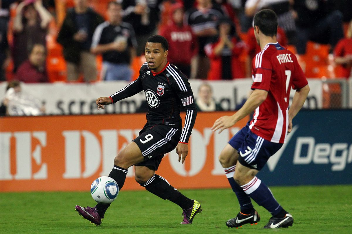 WASHINGTON, DC - SEPTEMBER 21: Charlie Davies #9 of D.C. United controls the ball against Heath Pearce #3 of Chivas USA at RFK Stadium on September 21, 2011 in Washington, DC. (Photo by Ned Dishman/Getty Images)