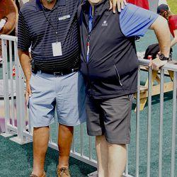 Two UConn broadcasting greats, Joe D'Ambrosio and Bob Joyce.
