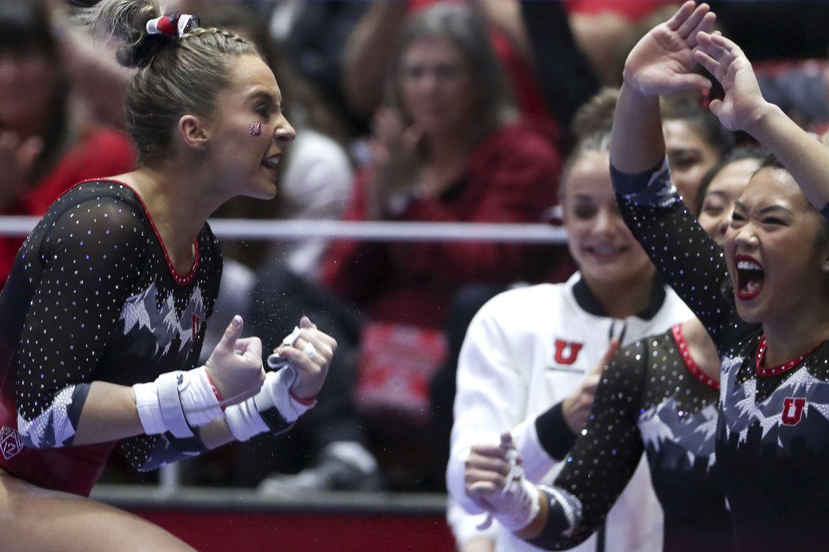 Utah's MyKayla Skinner, left, celebrates her bars routine during the Penn State versus University of Utah gymnastics meet at the Huntsman Center in Salt Lake City on Saturday, Jan. 5, 2019.