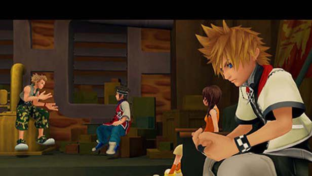 Roxas sits apart from his friends in Kingdom Hearts 2
