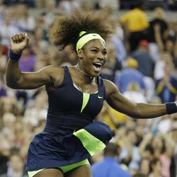 Serena Williams reacts after beating Victoria Azarenka, of Belarus, in the championship match at the 2012 US Open tennis tournament, Sunday, Sept. 9, 2012, in New York. Two points from defeat, Williams suddenly regained her composure to come back and win the last four games, beating No. 1-ranked Azarenka 6-2, 2-6, 7-5 on Sunday for her fourth U.S. Open title and 15th Grand Slam title overall.