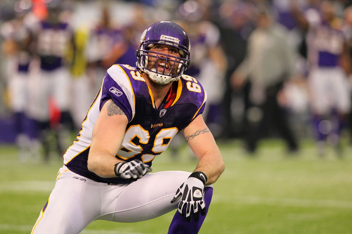 """Jared Allen will be on the NFL Network's """"Top 100"""" list, but neither he. . .nor any other member of the Minnesota Vikings. . .has appeared yet.  (Photo by Adam Bettcher /Getty Images)"""