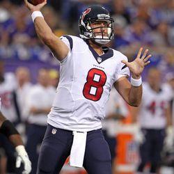 Aug 9, 2013; Minneapolis, MN, USA; Houston Texans quarterback Matt Schaub (8) throws during the first quarter against the Minnesota Vikings at the Metrodome.