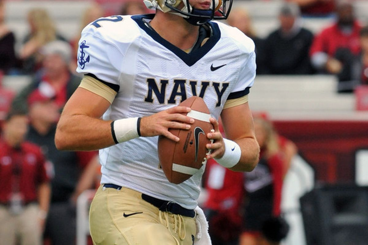 COLUMBIA, SC - SEPTEMBER 17:  Quarterback Kriss Proctor #2 of Navy Midshipmen warms up for play against the South Carolina Gamecocks September 17, 2011 at Williams-Brice Stadium in Columbia, South Carolina.  (Photo by Al Messerschmidt/Getty Images)