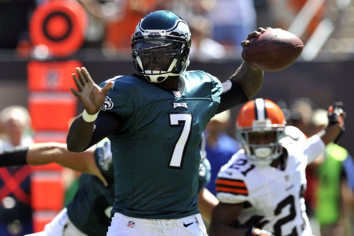 Sep 9, 2012; Cleveland, OH, USA; Philadelphia Eagles quarterback Michael Vick (7) drops back to pass against the Cleveland Browns at Cleveland Browns Stadium. Mandatory Credit: David Richard-US PRESSWIRE