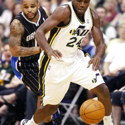 Utah Jazz forward Paul Millsap (24) steals the ball from Orlando s #14 Jameer Nelson as the Utah Jazz and the Orlando Magic play Saturday, April 21, 2012 in Energy Solutions arena.