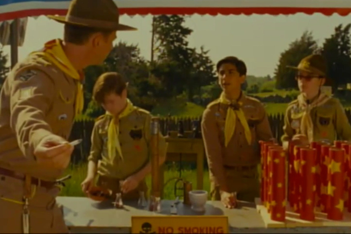 Blink and you'll probably miss him: Andreas Sheikh (third from left) is the only minority character in Wes Anderson's Moonrise Kingdom.