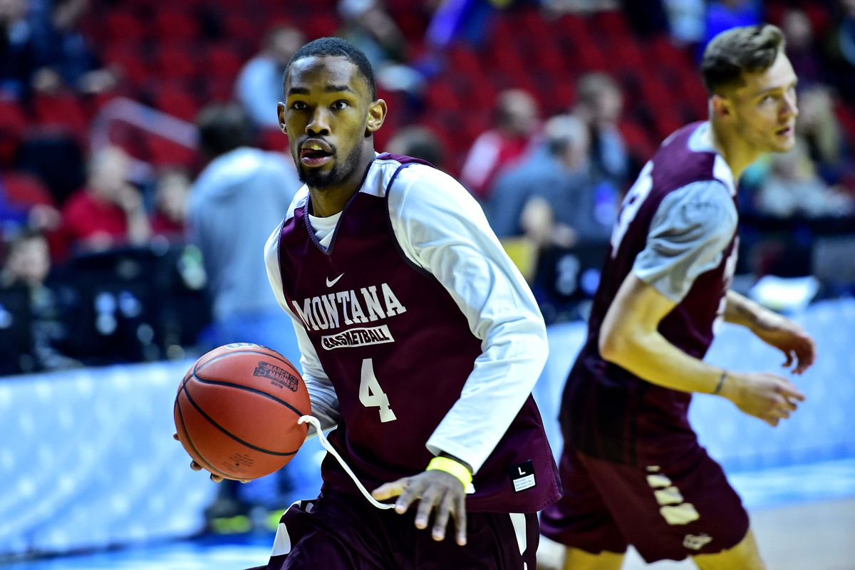 Montana Grizzlies guard Sayeed Pridgett handles the ball during practice before the first round of the 2019 NCAA Tournament at Wells Fargo Arena.