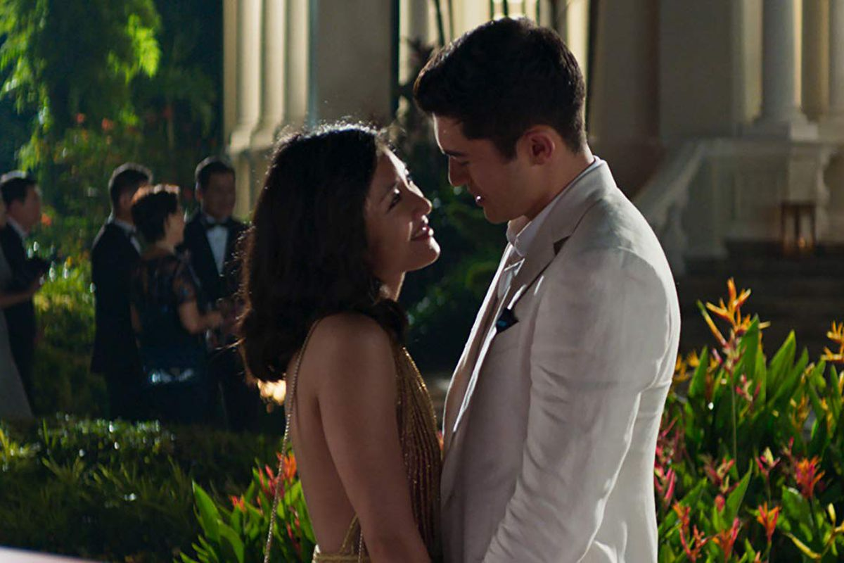 A couple looking into each other's eyes in 'Crazy Rich Asians'