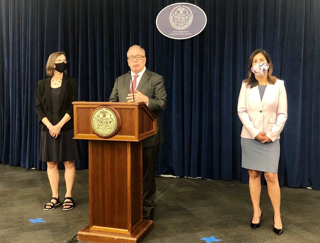 Comptroller Scott Stringer, along with Marjorie Landa,Deputy Comptroller for Audits and Investigations, and Neysa Alsina, General Counsel and Deputy Comptroller for Legal Affairs, discuss the release of their interim report on New York City's COVID-19 response. On Wednesday August 18, 2021.