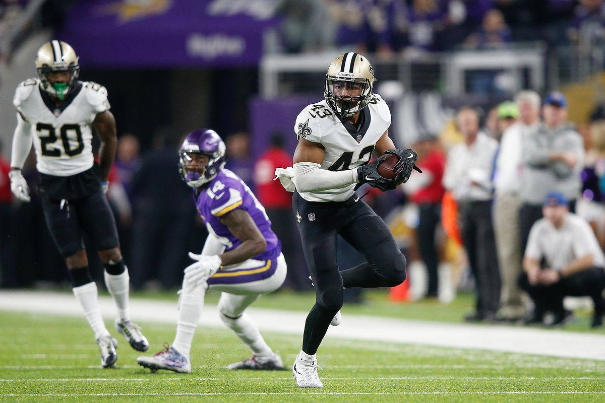 MINNEAPOLIS, MN - JANUARY 14:  Marcus Williams (43) of the New Orleans  Saints runs with the ball after intercepting Minnesota  Vikings quarterback Case Keenum (not pictured) during the second half of the NFC Divisional Playoff game at  U.S. Bank Stadium.